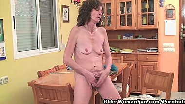 Saggy Grandma Gives Her Hairy Old Pussy A Treat