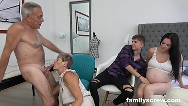 8 Months Pregnant Maid watching StepFamily Fuck