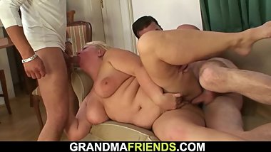 Two horny dudes pick up busty boozed granma