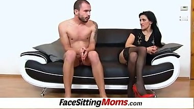 Dirty high heels lady Marta facesitting young boy