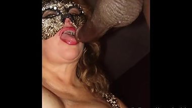 GILF Interracial Striptease BlowjobA