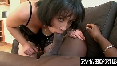 Granny Vs BBC - Mature Eva Stuffs Her Mouth and Bushy Pussy with Black Cock