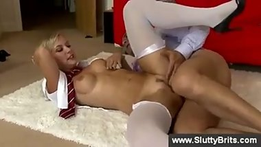 Blonde girl getting banged by old man