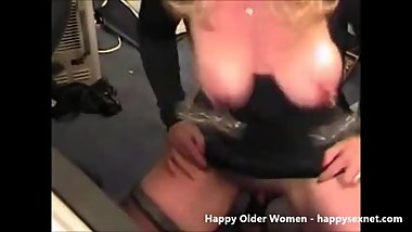 Pervert submissive granny with clamps on nipples
