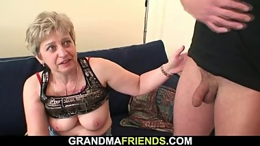 Old grandma in black stockings gives head and rides