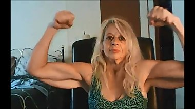 Granny with floppy triceps flexes her remarkable biceps