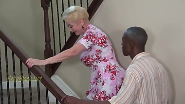 Blonde Granny Invites Black Dad For Creampie.